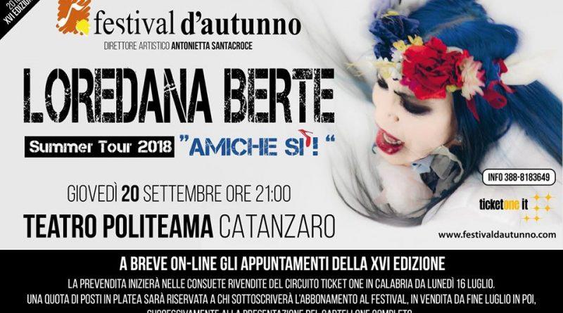 XVI edizione del Festival d'Autunno: arriva Loredana Bertè
